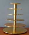 6 TIER CUP CAKE STAND DISASSEMBLED GOLD OR SILVER ROUND OR SQUARE